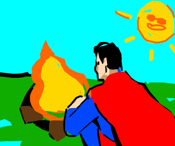 super man at a campfire