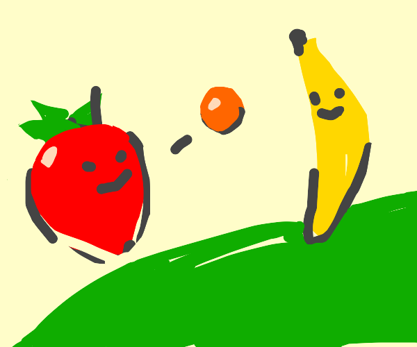 strawberry and banana play catch