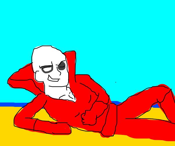 dead man by beach