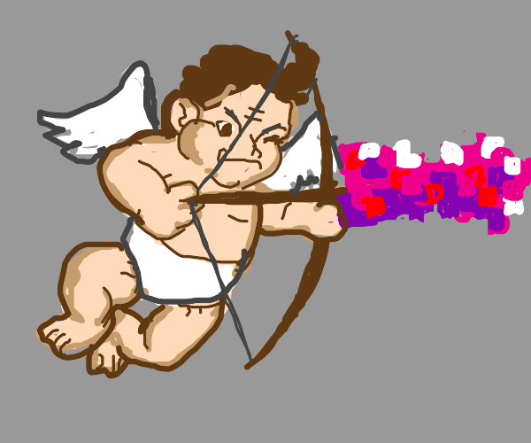Cupid aiming his love bow