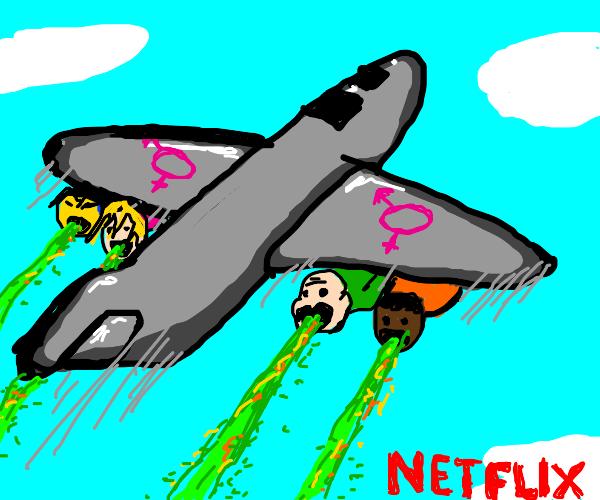 Puke flies out of jet egine