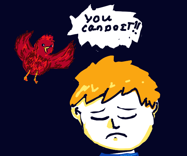 red bird gives sad man words of encouragement