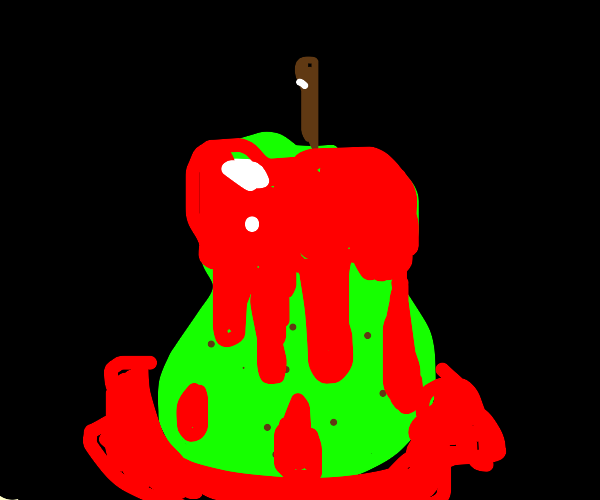 Pear covered in blood
