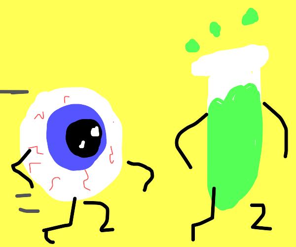 Disembodied eyeball chasing beaker