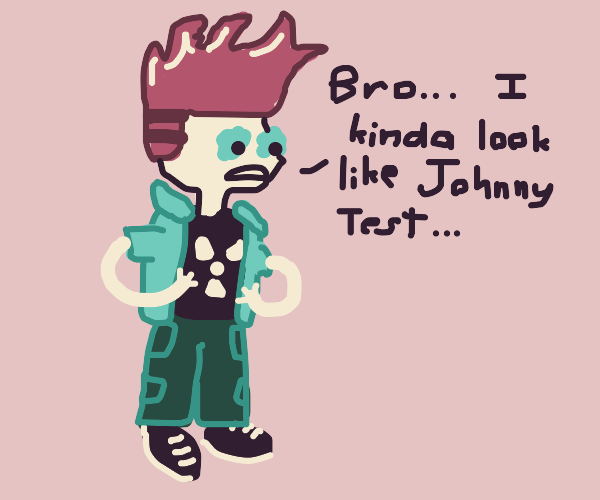 Someone commenting he looks like Johnny test