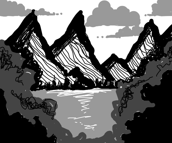Monochrome cloudy mountain view