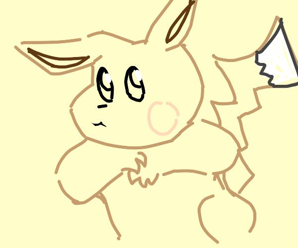 Pikachu but evee colors