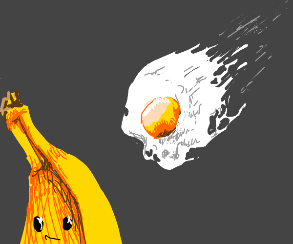 Man shoots egg at banana person