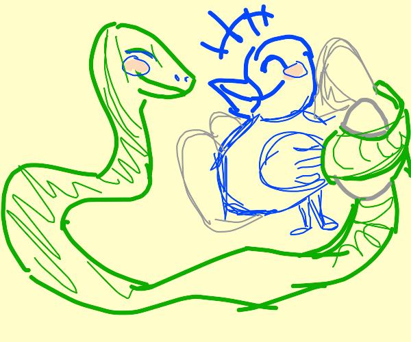 Flirty snake steals an egg