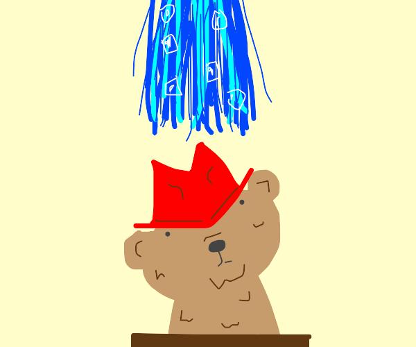 Paddington bear in a box ice bucket challeng