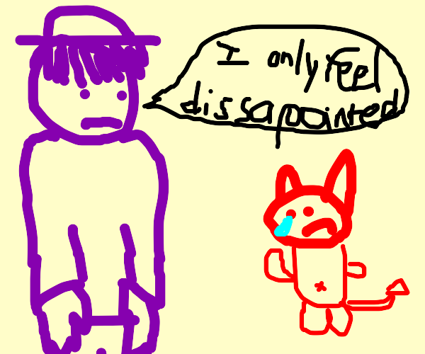 purple man is disappointed in sad demon