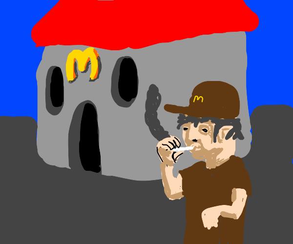 Fast food worker smoking on their break