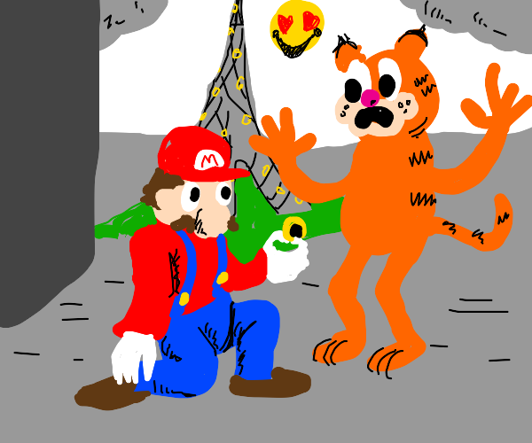 Mario proposes to Garfield at the Eiffel Towe