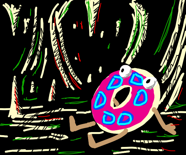 drawception donut stuck in a cave but not sad