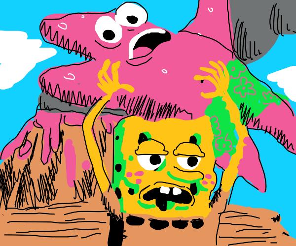 Spongebob throwing patrick off volacano