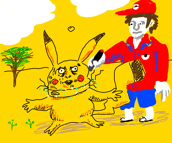 Pikachu getting zapped by electric collar