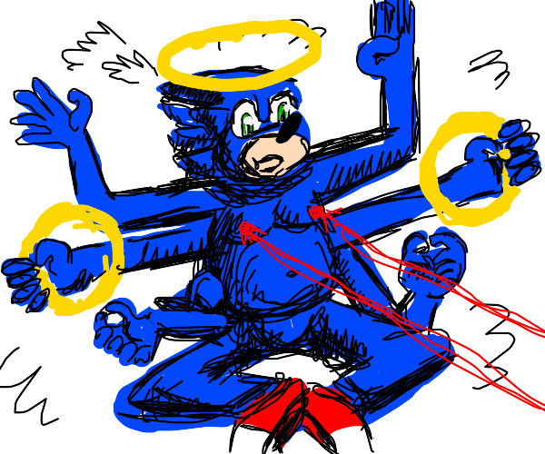 sonic the hedgehog but he's a god
