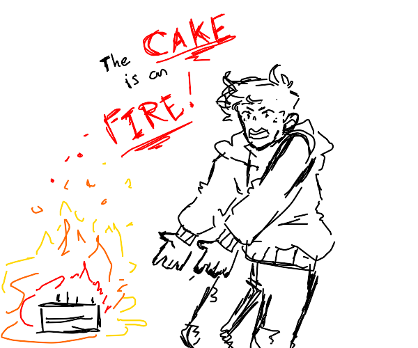 guy screaming about the cake is on fire