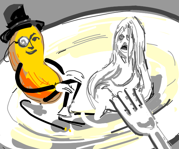 Mr. Peanut and a white ghost girl on a plate