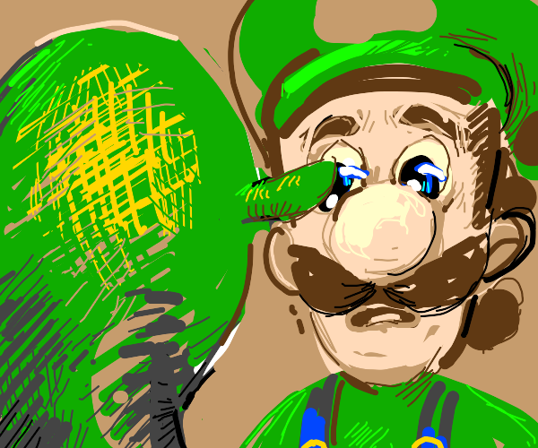 Luigi looks lovingly into Shrek's eyes