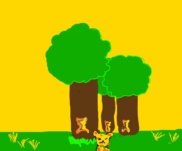 Cheetah running through the trees