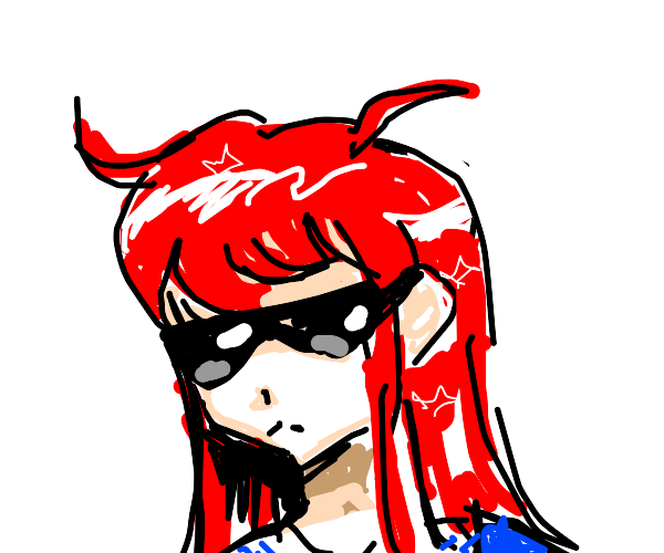 anime girl with red hair and sunglasses