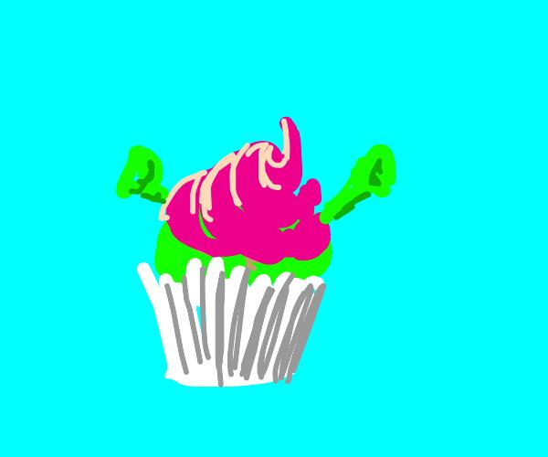 shrek baked into a cupcake