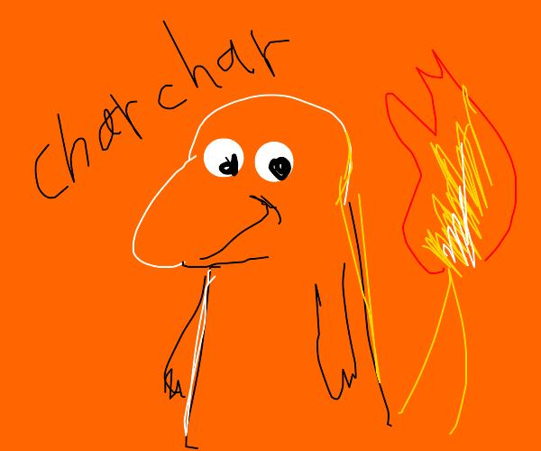 charzard with orange background