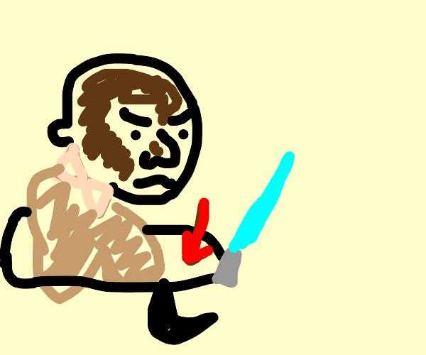 Mace Windu loses beard during lightsaber duel