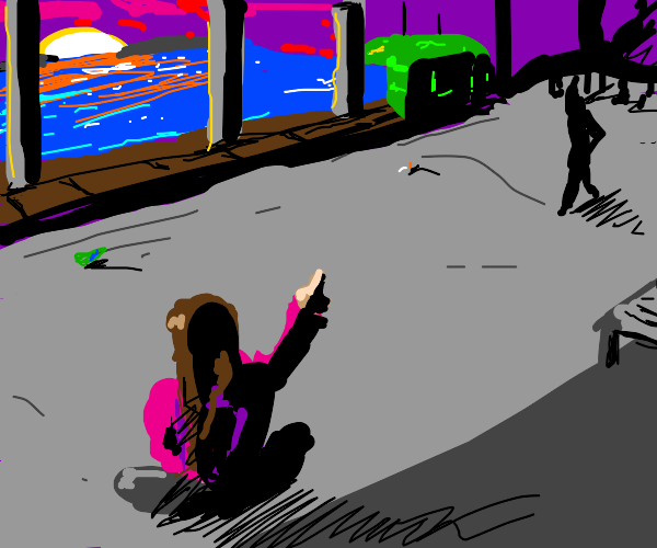 girl pointing at a train during the sunset