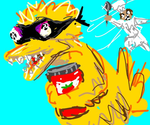 bird burgular steals tomato sauce