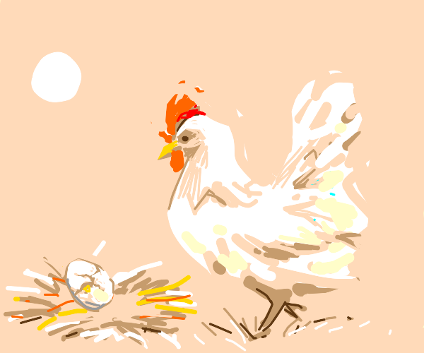 Hen watches egg that's starting to hatch
