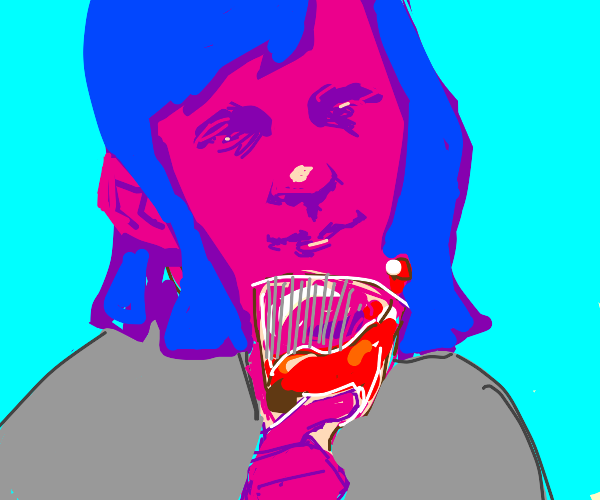 pink woman with glass of blood