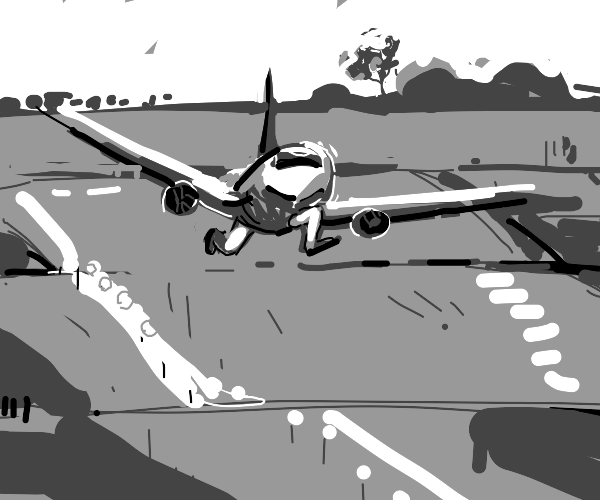 a plane actually running down a runway