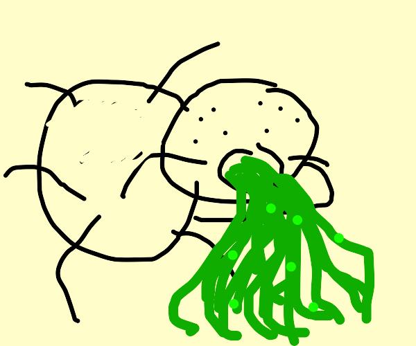 A spider puking.
