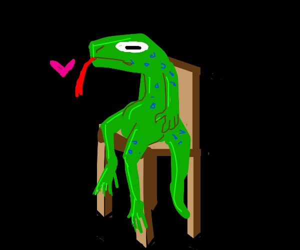 lizard loves chair