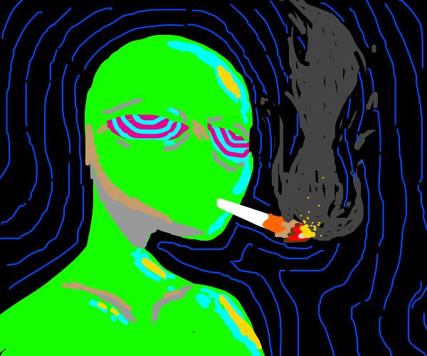 Green man smoking a cig