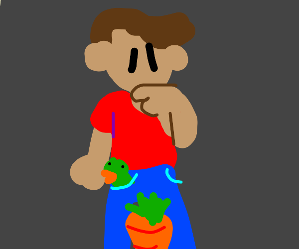 man with bird in his pants looking at carrot