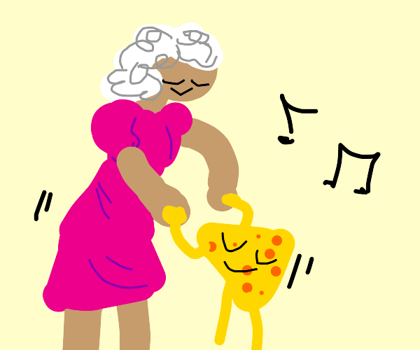 Tall old lady dances with a piece of cheese