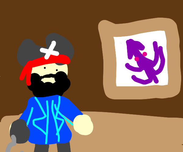 Pirate looks at a painting of a squid