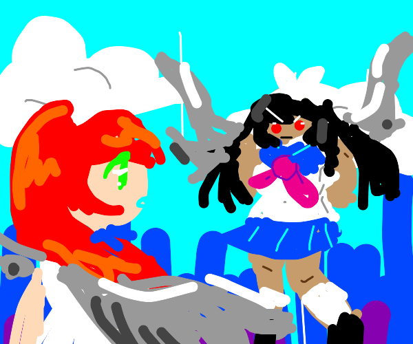 Two bright anime girls fighting with wings