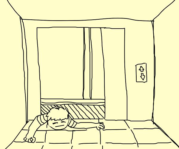 Guy stuck in elevator door between floors
