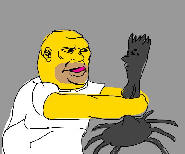 homer choking a spider that looks like bart
