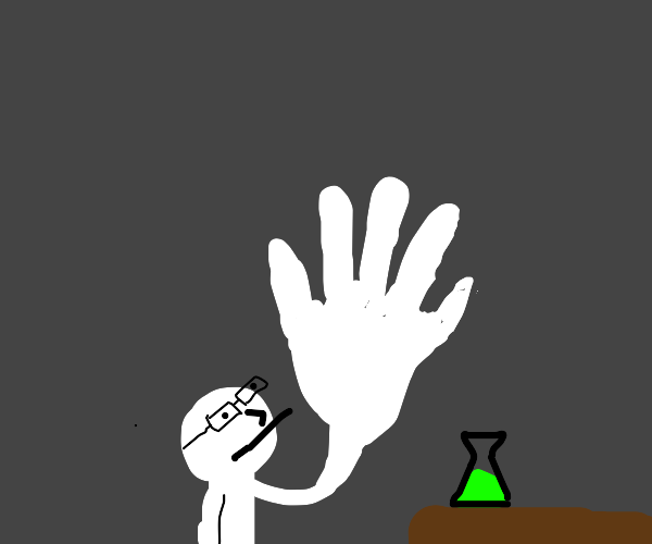 Potion makes scientists hand grow bigger