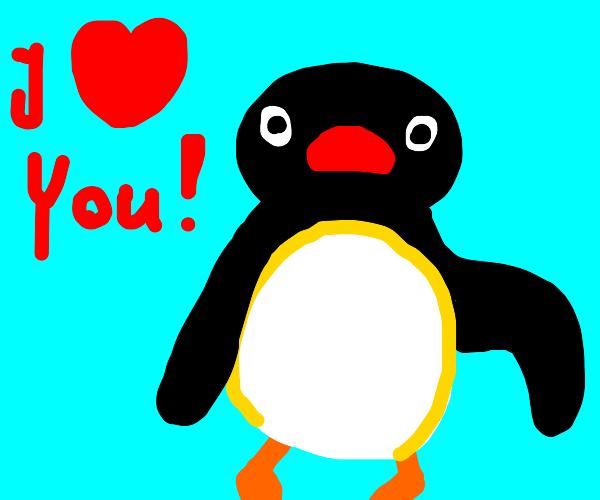Penguin on Valentines Day