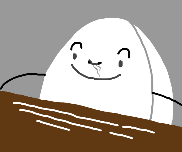 Egg shaped man smells the sugar on the table