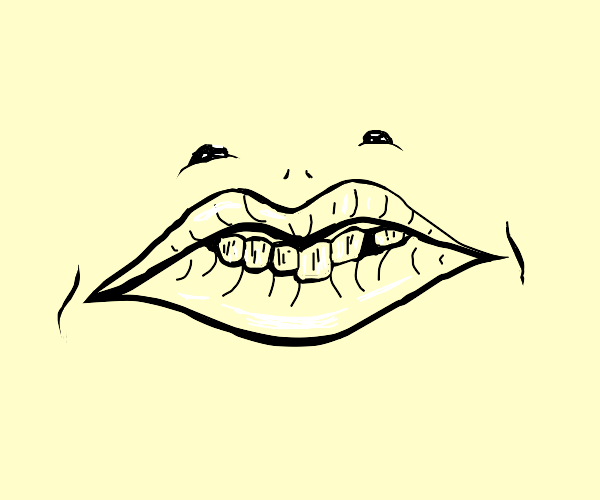 unnerving lips with doodle eyes