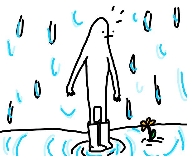 It rains on surprised man