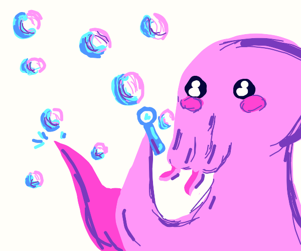 Cute pink Cthulhu blowing bubbles