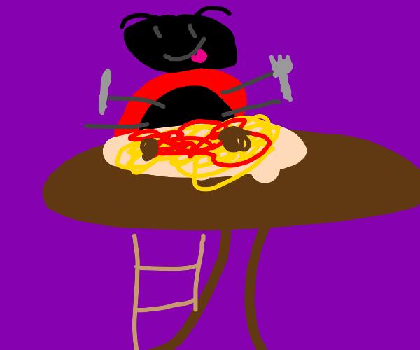 Ladybug eating spaghetti